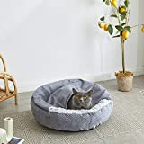 Uozzi Bedding Cat Bed Plush Dog Bed Faux Fur Cushion Donut Cuddler with Attached Pet Blanket Super Warm for Winter Machine Washable 23 inch Covered Pet Bed