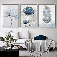 スカンジナビアの花のキャンバスアート抽象絵画プリント羽の装飾の写真リビングルームの家の装飾壁のポスター40X60cmX3pcsフレームレス