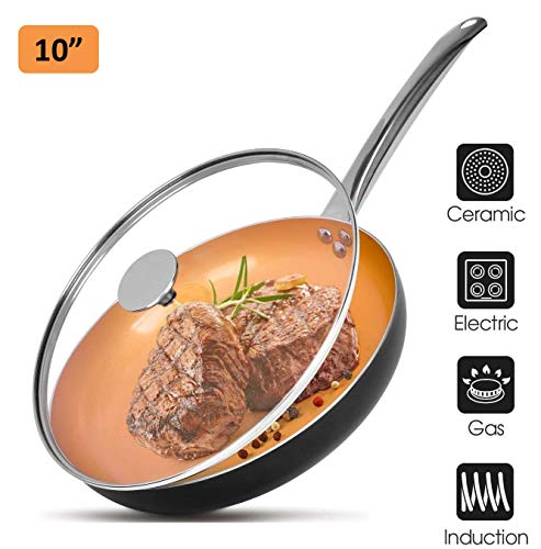10quot Copper Nonstick Frying Pans with Lid Chef#039s Classic Skillet with 100% PFOAFree Saucepan Ceramic Titanium Coating with Frying Pan Professional Round Aluminum Saute Pan for Gas Electric Cooktop