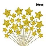 Xelparucoutdoor - Juego de 48 piezas de decoración para cupcakes, diseño de estrellas, color dorado con purpurina, para decoración de tartas y pasteles, con purpurina