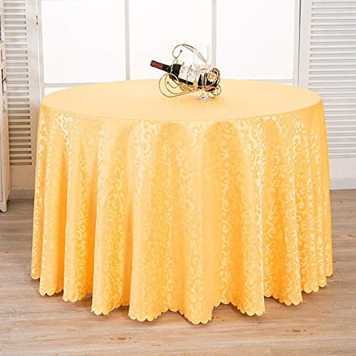 Cozomiz Solid Color Jacquard Tablecloth Party Table Cover Table Runner for Wedding Party Dining Room Table Linens Rectangular Round Tablecloth Round£º86 Inch Yellow