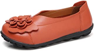 Veveca Women Comfort Round Toe Flower Driving Moccasins Wild Casual Breathable Flats Shoes Casual Leather Loafers
