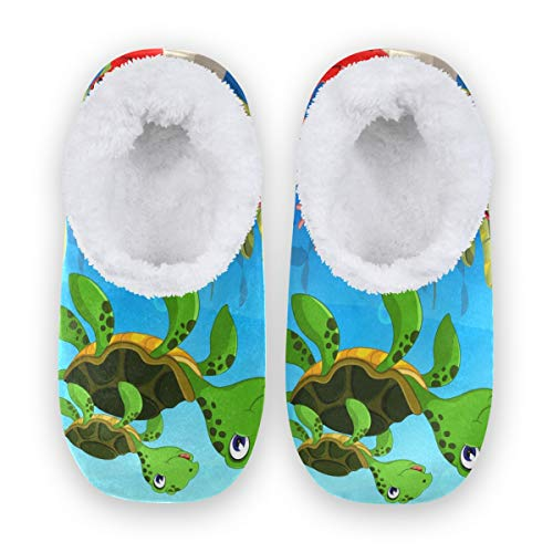 TropicalLife LZXO Herren Damen Plüsch Hausschuhe Geschlossen Cartoon Animal Turtle Crab Memory Foam Slippers Winter Wärme Indoor Home Pantoffeln(Größe XL)