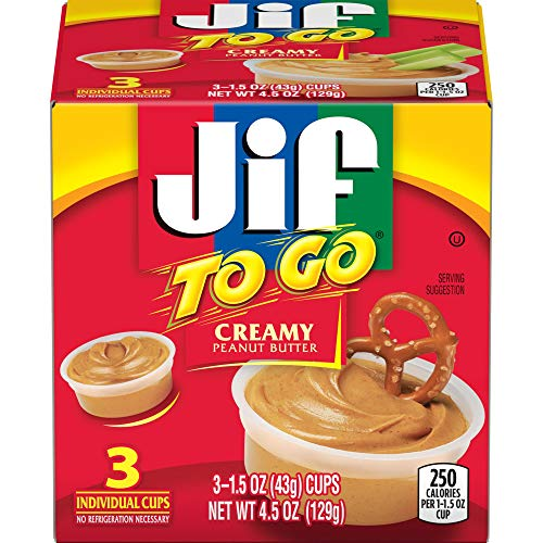 Jif To Go Creamy Peanut Butter, 3- 1.5 Ounce Cups, Smooth and Creamy Texture, Snack Size Packs