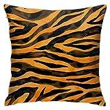 XXUU Tigre Negro Amarillo Naranja Marrón, Acuarela Textura de Piel de Animal, Funda de Almohada Diagrama de 18 'X 18' Funda...