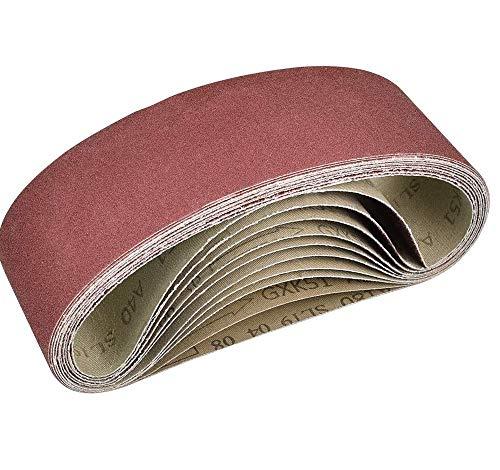 PERFETSELL 10 Pack 75 x 533 mm Sanding Belts Aluminum Oxide Belt Sander Paper Assorted Grits 40, 60, 80, 120, 180 Cloth/Fabric Power File Belts for Bosch Belt Sanders etc