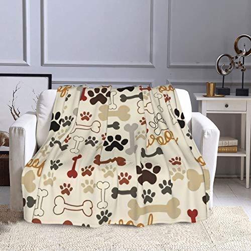 Manta de forro polar, diseño de huesos y huellas de canas, color crema, ultra suave, cálida, manta de felpa para sofá, cama, oficina, sala de estar, 127 x 152 cm