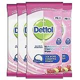 Dettol Toallitas de limpieza multiusos antibacterianas desinfectantes, fragancia de granada, paquete múltiple de 4 x 70, total 280 toallitas