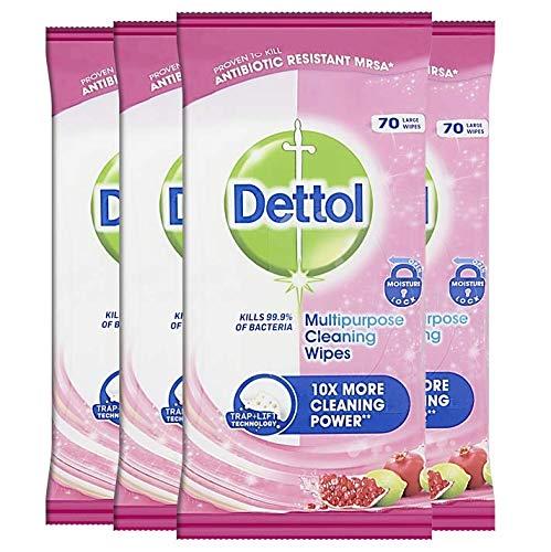 Dettol Toallitas de limpieza multiusos desinfectante antibacteriano, fragancia de granada, paquete múltiple 4 x 70, total 280 toallitas