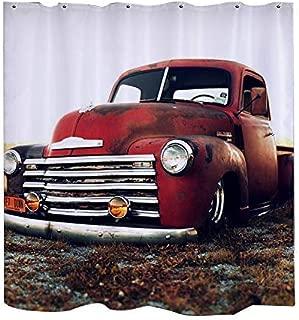 GoJeek Chevy Truck Shower Curtain Retro Vintage Rustic Red Truck Cars Bathroom Sets (Shower Curtain)