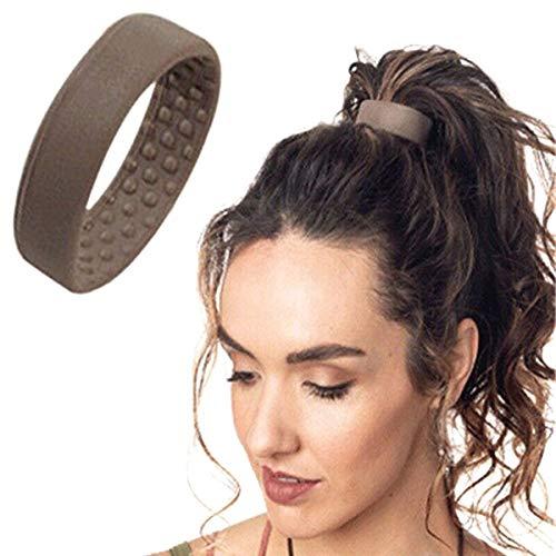 JsJr-K-In Damen Haargummi, Silikon, elastisch, Pferdeschwanz-Halter, multifunktional, faltbares Haar-Zubehör (Farbe: Schwarz, Kaffee, Beige)