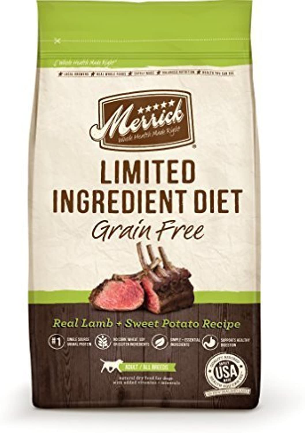 Merrick Limited Ingredient Diet Real Lamb and Sweet Potato Recipe Pet Food, 4Pound by Merrick