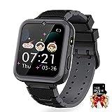 Hangang 1,54 Pollici HD Touch Screen Bambini Smart Watch Gioco Musica Torcia Fotocamera Due Vie Chiamate SOS Ragazzi Ragazzi Ragazze Orologio di Compleanno (Nero)