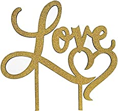 Gold Glitter Love Cake Topper - for Wedding/Engagement/Bridal Shower/Anniversary/Birthday/Bachelorette/Confession Party Decorations Supplies