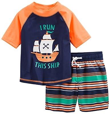 Simple Joys by Carter's traje de baño de 2 piezas para bebés y niños pequeños ,Orange Blue Ship ,18 Meses de Carter's Simple Joys - Private Label