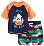 Simple Joys by Carter's traje de baño de 2 piezas para bebés y niños pequeños ,Orange Blue Ship ,18 Meses