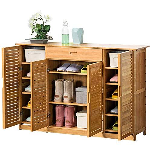 GUOCAO Zapatero de madera para puertas de baño, cocina, sala de estar, ahorro de espacio, fácil de montar (color: natural, tamaño: 132 x 33 x 88 cm)