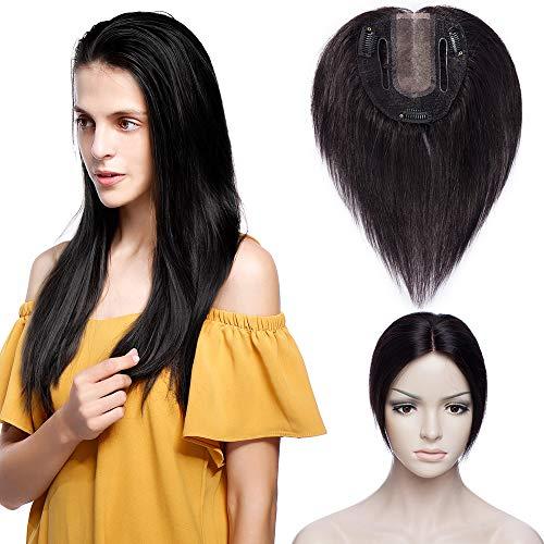 TESS Topper Haarteil Clip in Extensions Echthaar Toupet Frauen Silk Base Toupee Damen Pony Haarverlängerung Lace Front 6