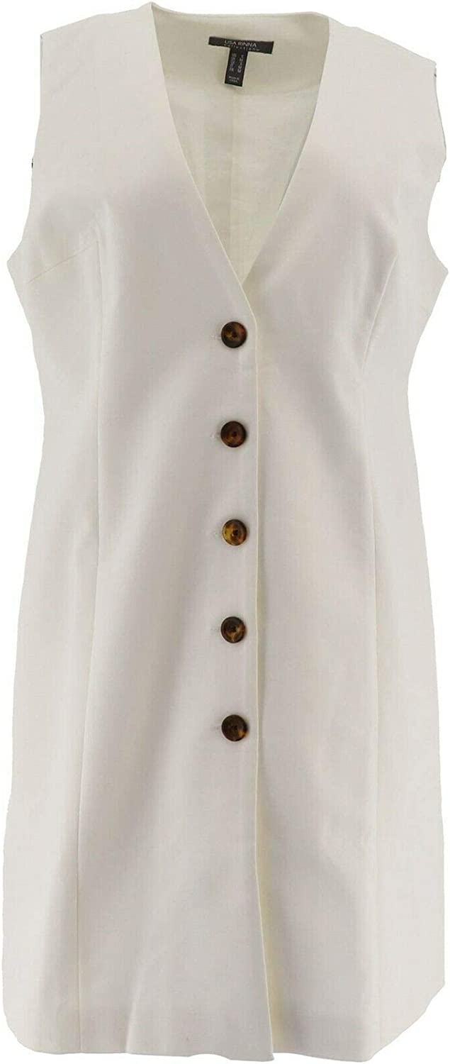 Lisa Rinna Collection Mid-Length Button Front Vest A353877