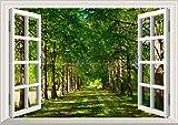 絵画風 壁紙ポスター はがせるシール式 -窓の景色- 並木道 森林 森林浴 緑 目の保養 気分転換 癒し 窓仕様 トリックアート キャラクロ SNR-004MA1 A1版 830mm 585mm 建築用壁紙 耐候性塗料