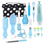 Baby Toddler Electric Fingernail Grooming Trimmer Set, 18 in 1 kit; plus Baby Digital Thermometer, Comb, Brush, Nail Clippers, Nasal Aspirator