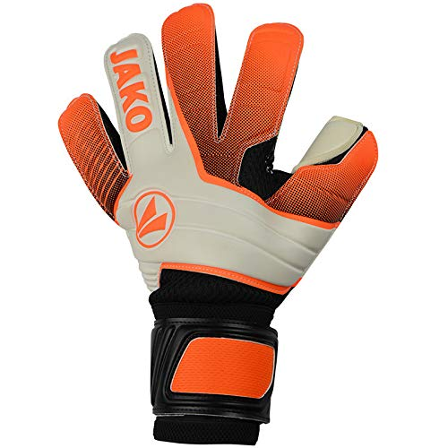 JAKO Champ Supersoft RC Torwart-handschuh, Neonorange/anthrazit, 10