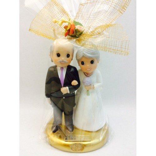 Figura tarta bodas de oro 50 aniversario GRABADA figuras PERSONALIZADA para pastel o regalo