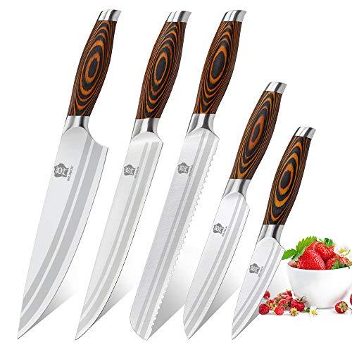 WILDMOK Juego de cuchillos de 5 piezas para utensilios de cocina, juego de cuchillos de cocina de chef profesional de acero inoxidable alemán