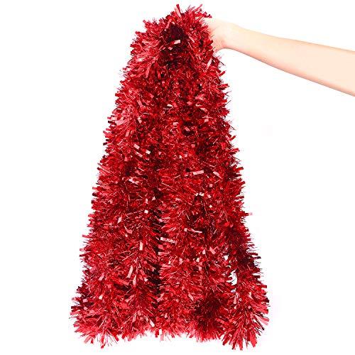 DIYASY Christmas Red Tinsel Garland for Christmas Tree...