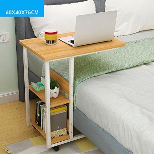 YUN-X Table d'ordinateur Portable, Bureau de lit avec Roues de Tablette de Rangement, Table de Lecture de Salon en Bois Massif (Couleur : B, Taille : 80 * 40 * 75cm)