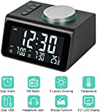 Alarm Clock Radio with FM Radio, Dual Alarms Clock, 3.2' LED Display with Dimmer, Snooze, Sleep Timer, Temperature...
