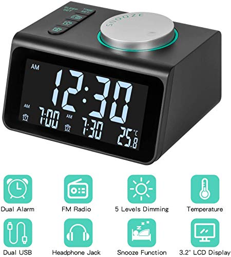 "Alarm Clock Radio with FM Radio, Dual Alarms Clock, 3.2"" LED Display with Dimmer, Snooze, Sleep Timer, Temperature Display, 12/24 Hours, Adjustable Alarm Volume, Headphone Jack, Dual USB Charging Port"