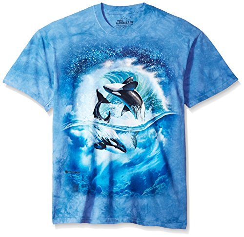 The Mountain Orca Wave Adult T-Shirt, Blue, Large
