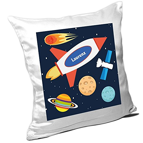 Kissen mit Namen Laurenz und schönem Weltraum-Motiv für Jungs - Namenskissen personalisiert - Kuschelkissen - Schmusekissen