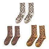 Fenical Crew Socken Leopard Frauen Mid-Tube Socken warme Wollsocken für Mädchen Frauen Damen 3 Paare