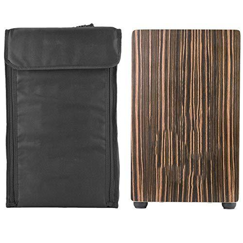 Sandelholzplatte Cajon-Trommel, Handholz-Kastentrommel Schwarze Cajon-Trommel, mit Oguman-Holz, fünf Gesichtern, rutschfester Gummibasis, runde und glatte Ecken, für Holzkiste oder Schublade
