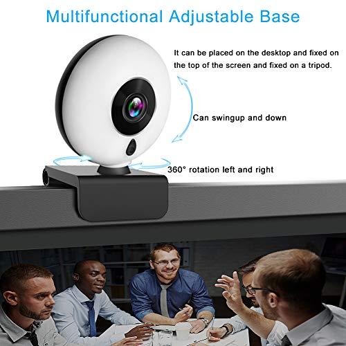 Kdely Streaming Webcam mit Mikrofon und Einstellbarer Ringlicht für PC, Full HD 1080P USB Web-Kamera mit Abdeckung und Stativ für Videochat und Aufnahme, Web Cam für Windows/Mac OS X/Zoom/Xbox One