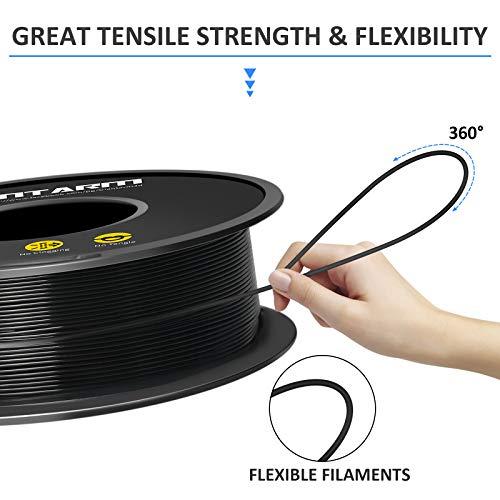 PLA Filamento 1,75 mm, GIANTARM Stampante 3D PLA Filamento 1 kg Spool(Nero)
