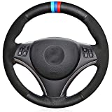 LYSHUI Funda para Volante de Coche, Antideslizante, Duradera, Cosida a Mano, Transpirable, Apta para BMW 1 Serie E81 E82 E87 E88 3 Serie E90 E91 E92 E93 M3