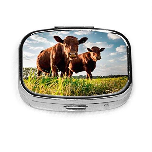 Cattle in The Green Wild Fashion Caja de pastillas cuadrada Vitamina Medicina Soporte para tableta Cartera Organizador Estuche