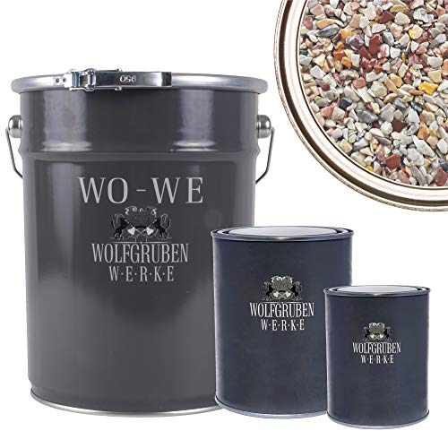 WO-WE Steinteppich SET 25kg Marmorkies + 1,5kg Epoxidharz Bindemittel + Mischeimer | Bunt 1-4mm