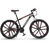 WPW Bicicleta de Montaña, Cuadro de Acero de 27 Velocidades, 26 Pulgadas, 10 Ruedas de Corte, Doble Suspensión, Bicicleta Plegable, Frenos de Disco Doble (Color : 27 Speed Red, Talla : 24inches)