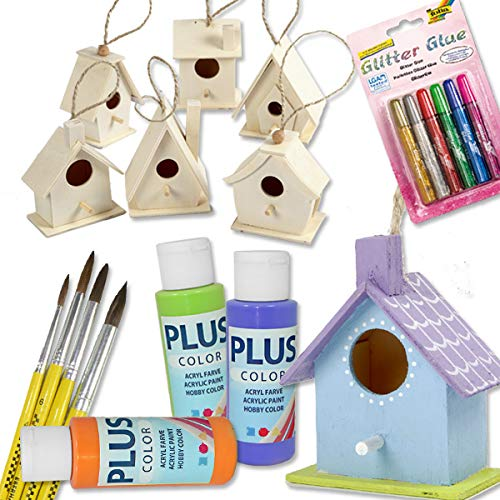 Vogelhaus Bastel-Set für Kinder mit 6 Vogelhäusern aus Holz, Malfarbe, Pinseln und Glitzer-Kleber, zum selber gestalten für Mädchen und Jungen, auch zum Kinder-Geburtstag eine farbenfrohe Beschäftigung