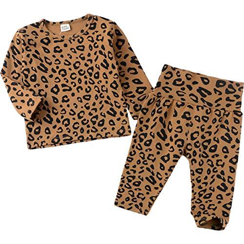 unknow YYXDP Kinder Stretch Homewear Pyjama Set, Leopard NachtwäSche Zweiteiliger...