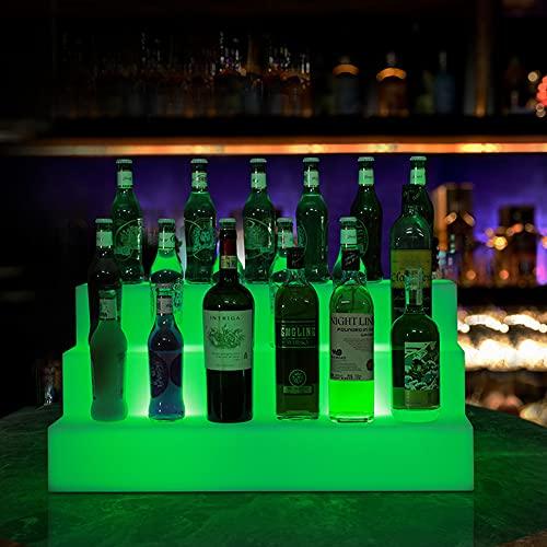 Mr.LQ Estante De Exhibición De Botellas De Vino con Luz LED Estante De Botellas De Barra Casera De 3 Capas con Control Remoto Estante De Luz De Bebidas De 3 Pasos