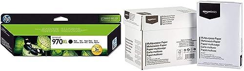 HP 970XL CN625AE pack de 1, cartouche d'encre d'origine, imprimantes HP OfficeJet Pro, noir & AmazonBasics Papier mul...