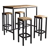 BestLoft.de Bartisch Bartonville Industriedesign Loft (1 Set: 120er Tisch + 4 Hocker New York, Eiche...