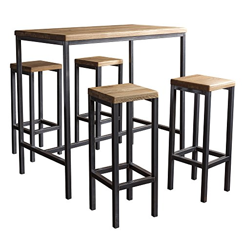 BestLoft.de Bartisch Bartonville Industriedesign Loft (1 Set: 120er Tisch + 4 Hocker New York, Eiche Natur)