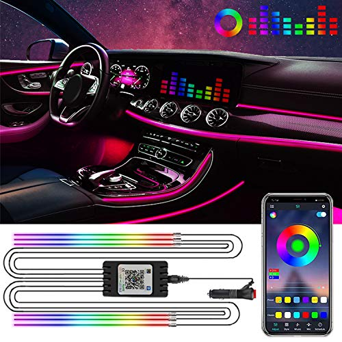 YIEUS Interior Car Lights,RGB Car LED Strip Light,APP Control 6 in 1 with 315 inches Fiber Optic,16 Million Colors Neon Ambient Lighting Kits,Music Sync Sound Active Function