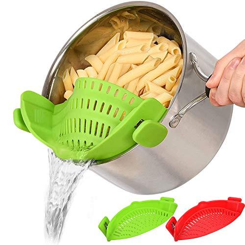 Schnappsieb, 2 Stück, Silikon-Lebensmittelsieb, hitzebeständig, zum Anklippen, Sieb für Reis, Pasta, Spaghetti, gemahlenes Rind, universelle Passform für alle Töpfe und Schüsseln